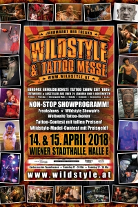 Wildstyle Tattoo Messe 2018 Sa, 14.04.2018 - So, 15.04.2018  Wiener Stadthalle, Halle E © Wildstyle Tattoo Messeveranstaltungs GmbH