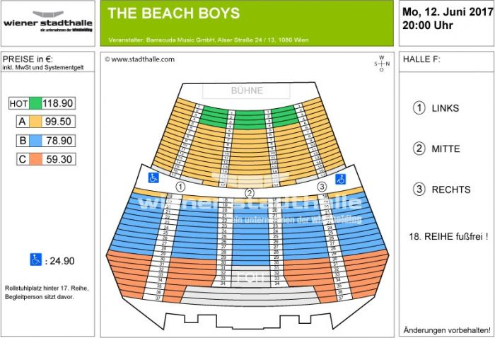 Sitzplan The Beach Boys 2017 © Wiener Stadthalle