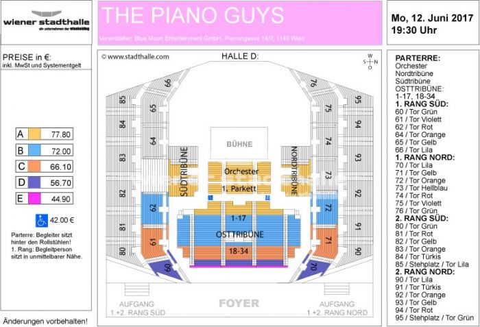 Sitzplan The Piano Guys 2017 © Wiener Stadthalle