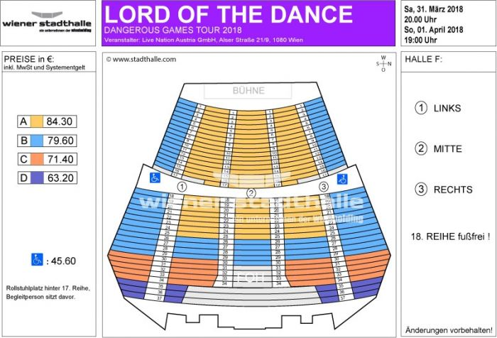 Sitzplan Lord of the Dance 2018 © Wiener Stadthalle