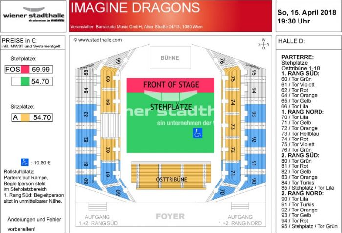 Sitzplan Imagine Dragons 2018 © Wiener Stadthalle