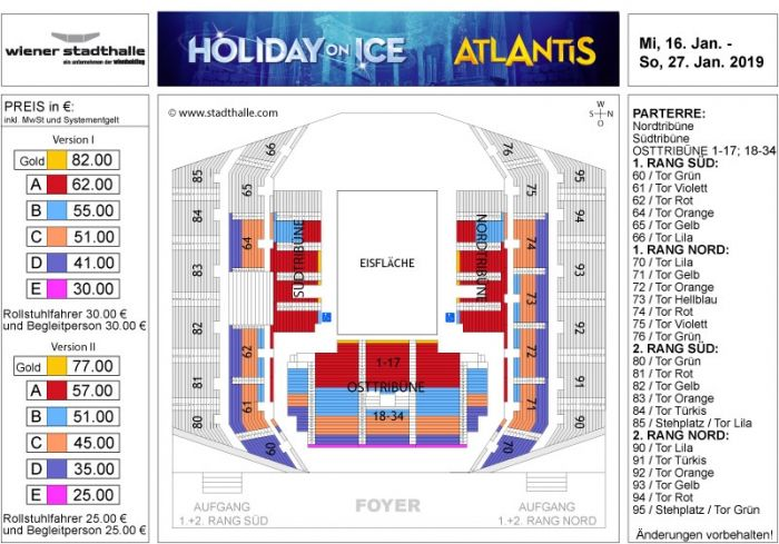 Sitzplan Holiday on Ice 2019 © Wiener Stadthalle