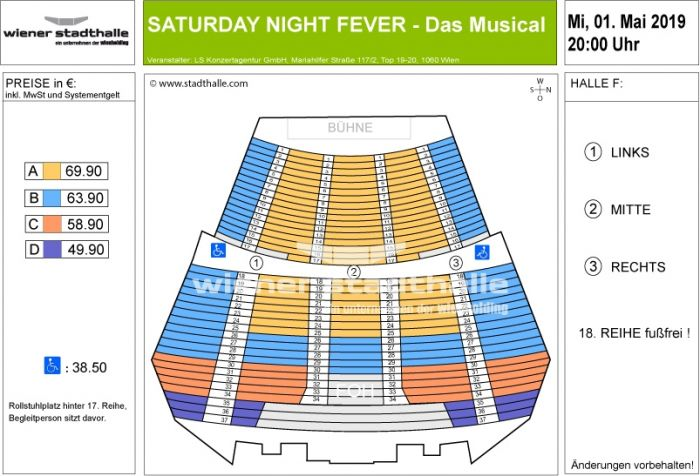 Sitzplan Saturday Night Fever 2019 © Wiener Stadthalle