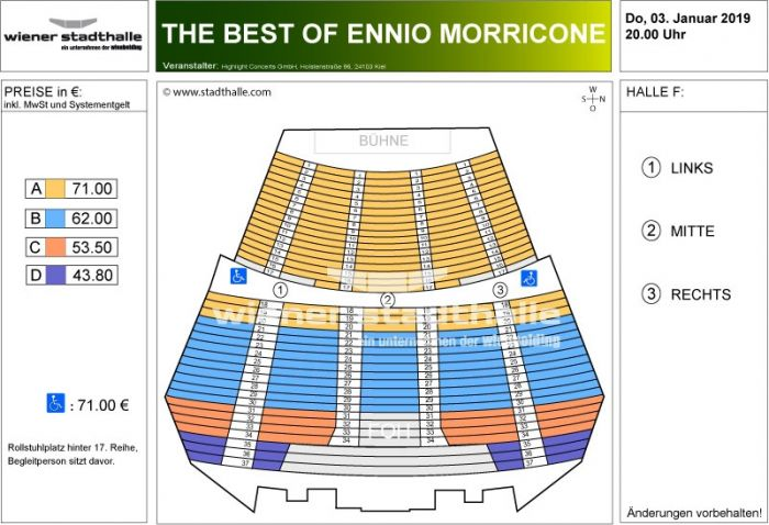Sitzplan The best of Ennio Morricone 2019 © Wiener Stadthalle