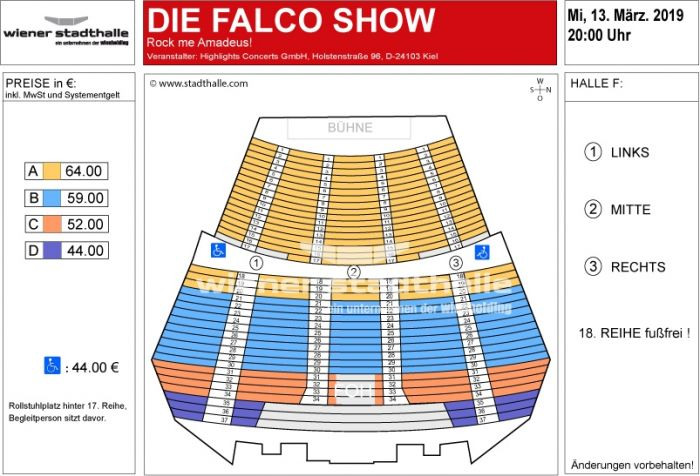 Sitzplan Falco the Show 2019 © Wiener Stadthalle