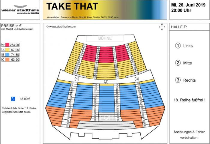 Sitzplan Take That 2019 © Wiener Stadthalle