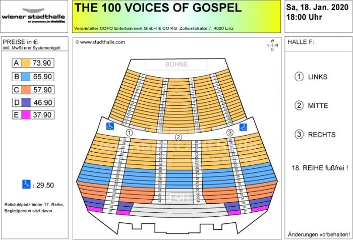 Sitzplan The 100 Voices of Gospel 2020 © Wiener Stadthalle