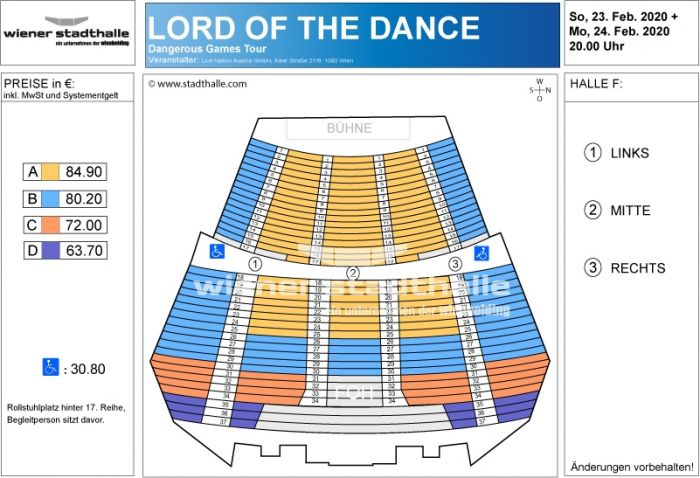 Sitzplan Lord of the Dance 2020 © Wiener Stadthalle