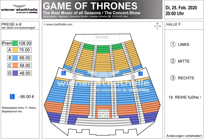 Sitzplan Game of Thrones 2020 © Wiener Stadthalle