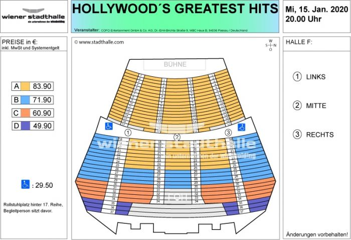 Sitzplan Hollywoods Greatest Hits 2020 © Wiener Stadthalle
