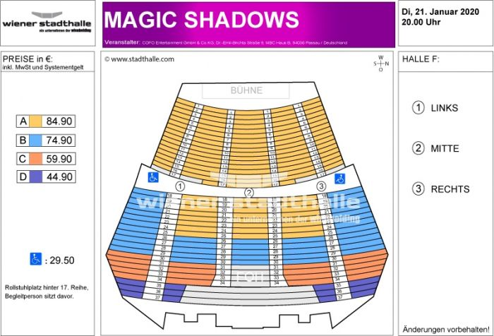 Sitzplan Magic Shadows 2020 © Wiener Stadthalle