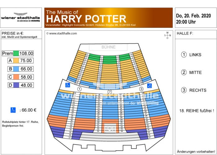 Sitzplan The Music of Harry Potter 2020 © Wiener Stadthalle