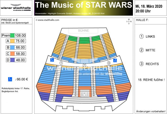 Sitzplan The Music of Star Wars 2020 © Wiener Stadthalle