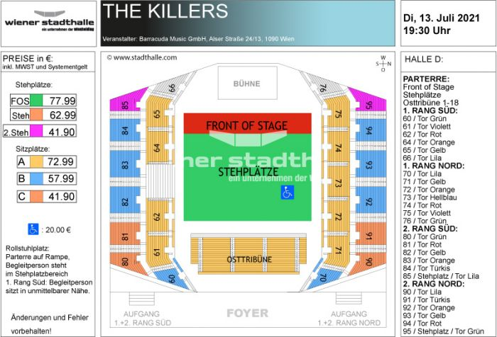 Sitzplan The Killers 2021 © Wiener Stadthalle