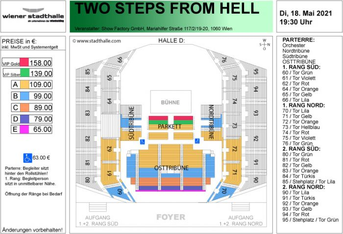 Sitzplan Two Steps from Hell 2021 © Wiener Stadthalle