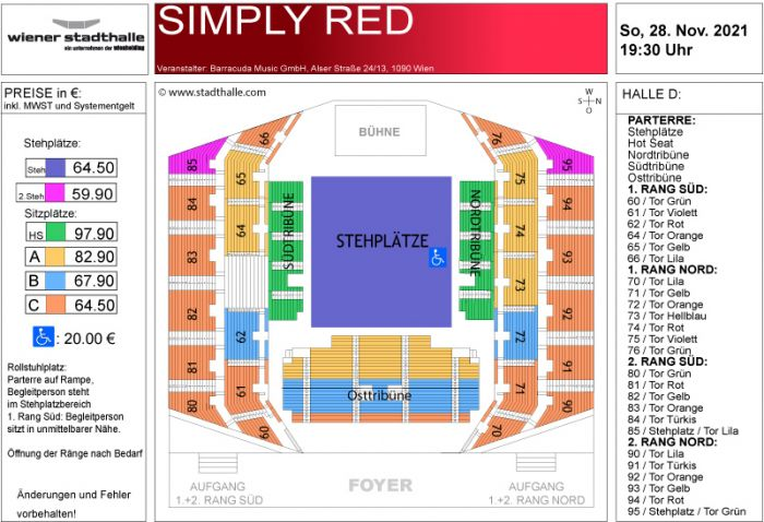 Sitzplan Simply Red 2021 © Wiener Stadthalle