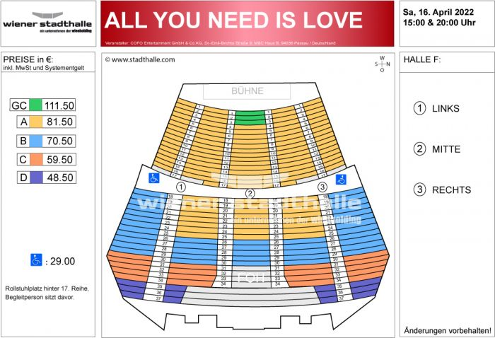Sitzplan All you need is love 2022 © Wiener Stadthalle