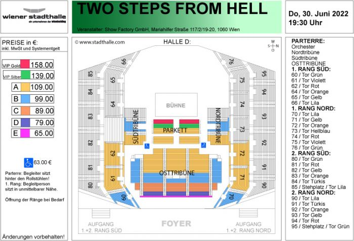 Sitzplan Two Steps from Hell 2022 © Wiener Stadthalle